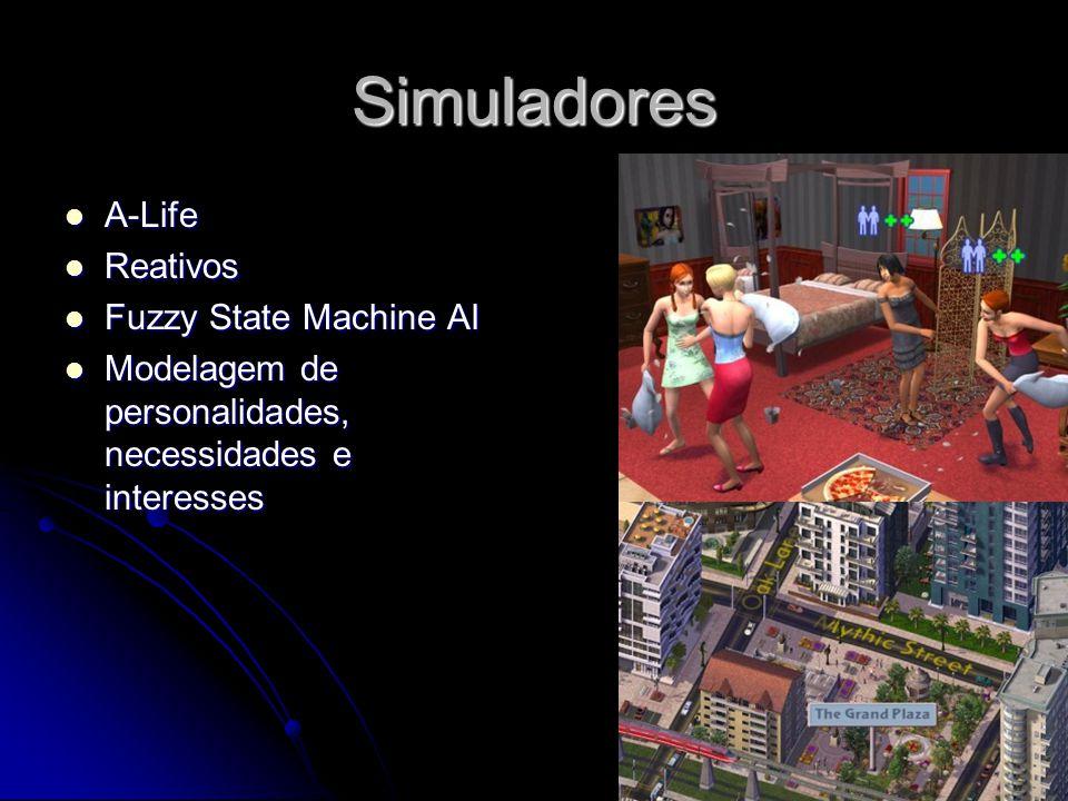 Simuladores A-Life A-Life Reativos Reativos Fuzzy State Machine AI Fuzzy State Machine AI Modelagem de personalidades, necessidades e interesses Modelagem de personalidades, necessidades e interesses