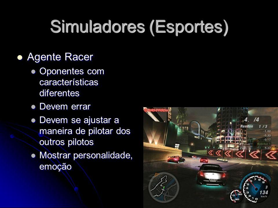 Simuladores (Esportes) Agente Racer Agente Racer Oponentes com características diferentes Oponentes com características diferentes Devem errar Devem errar Devem se ajustar a maneira de pilotar dos outros pilotos Devem se ajustar a maneira de pilotar dos outros pilotos Mostrar personalidade, emoção Mostrar personalidade, emoção