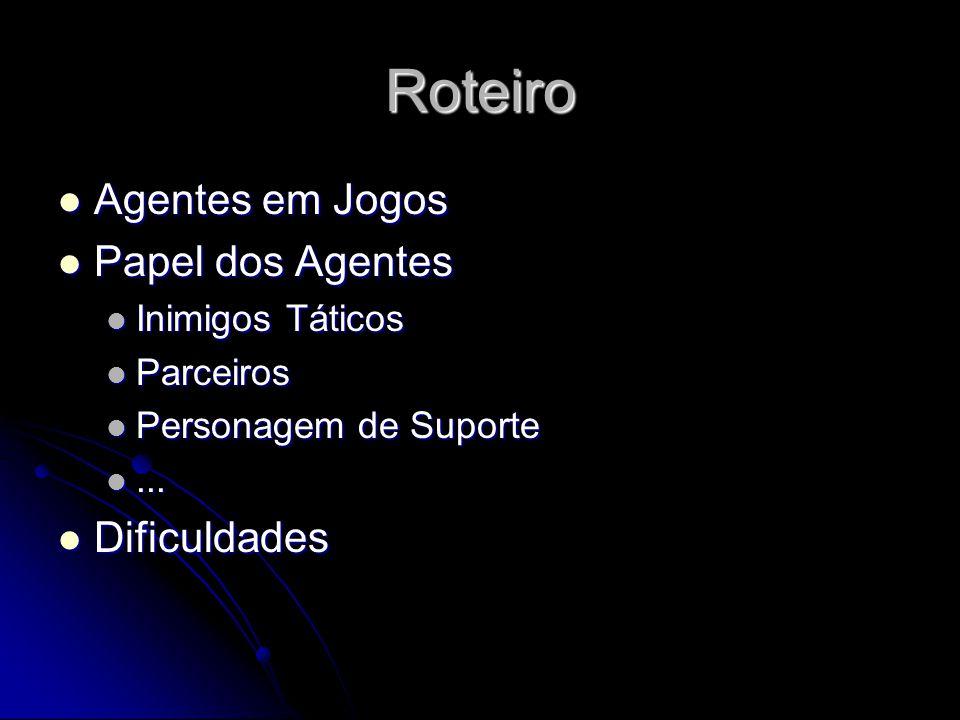 Roteiro Agentes em Jogos Agentes em Jogos Papel dos Agentes Papel dos Agentes Inimigos Táticos Inimigos Táticos Parceiros Parceiros Personagem de Suporte Personagem de Suporte......