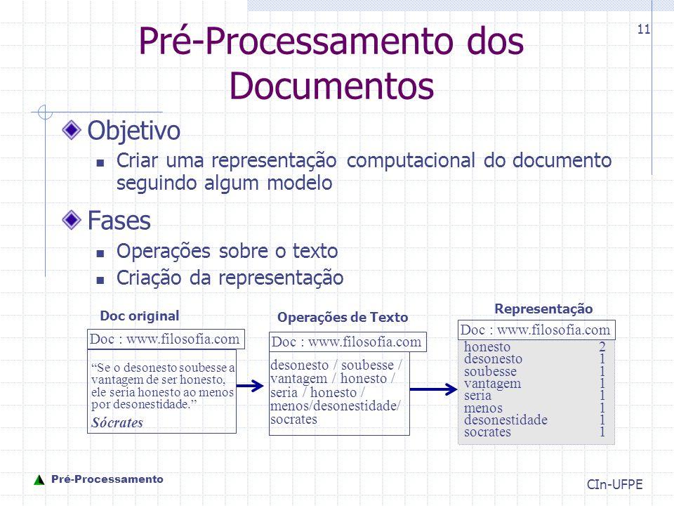 CIn-UFPE 11 Pré-Processamento dos Documentos Objetivo Criar uma representação computacional do documento seguindo algum modelo Fases Operações sobre o texto Criação da representação Se o desonesto soubesse a vantagem de ser honesto, ele seria honesto ao menos por desonestidade. Sócrates Doc original desonesto / soubesse / vantagem / honesto / seria / honesto / menos/desonestidade/ socrates honesto 2 desonesto 1 soubesse 1 vantagem1 seria 1 menos 1 desonestidade1 socrates 1 Operações de Texto Representação Doc : www.filosofia.com Pré-Processamento