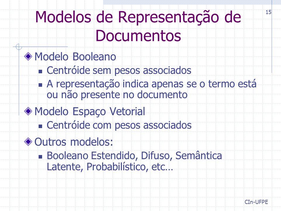 CIn-UFPE 15 Modelos de Representação de Documentos Modelo Booleano Centróide sem pesos associados A representação indica apenas se o termo está ou não presente no documento Modelo Espaço Vetorial Centróide com pesos associados Outros modelos: Booleano Estendido, Difuso, Semântica Latente, Probabilístico, etc…