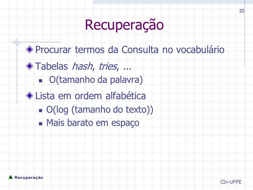 CIn-UFPE 30 Recuperação Procurar termos da Consulta no vocabulário Tabelas hash, tries,...