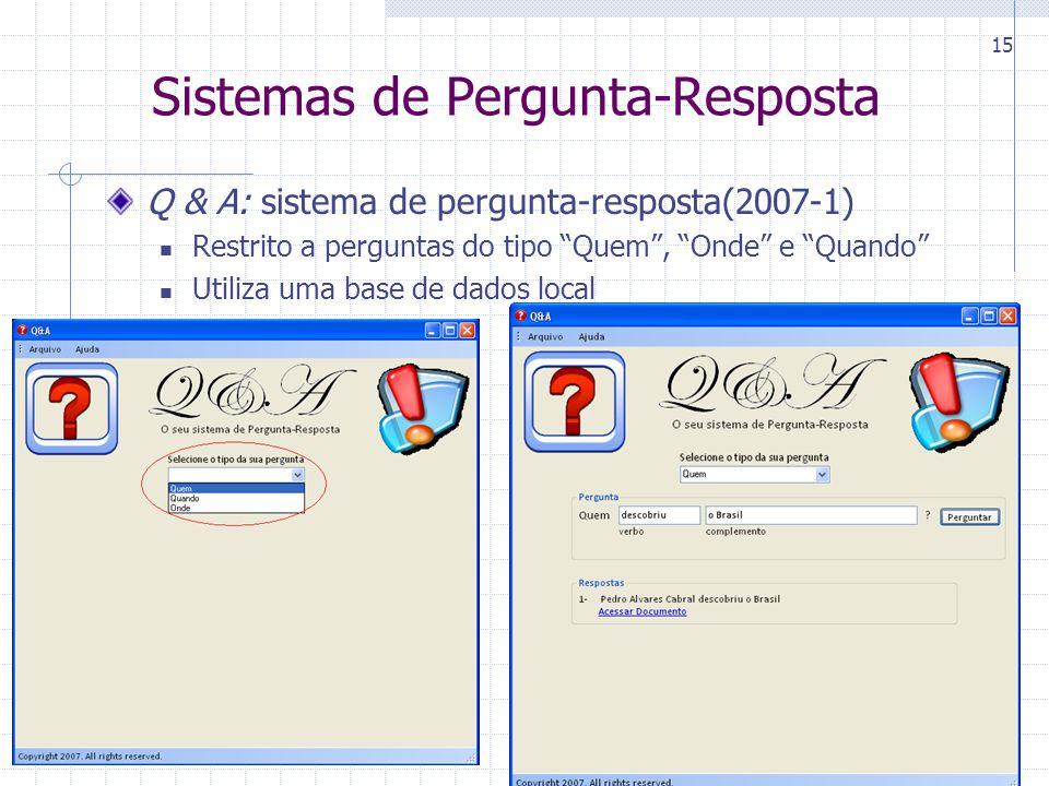 CIn-UFPE 15 Sistemas de Pergunta-Resposta Q & A: sistema de pergunta-resposta(2007-1) Restrito a perguntas do tipo Quem , Onde e Quando Utiliza uma base de dados local