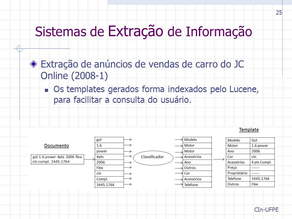 CIn-UFPE 25 Sistemas de Extração de Informação Extração de anúncios de vendas de carro do JC Online (2008-1) Os templates gerados forma indexados pelo Lucene, para facilitar a consulta do usuário.