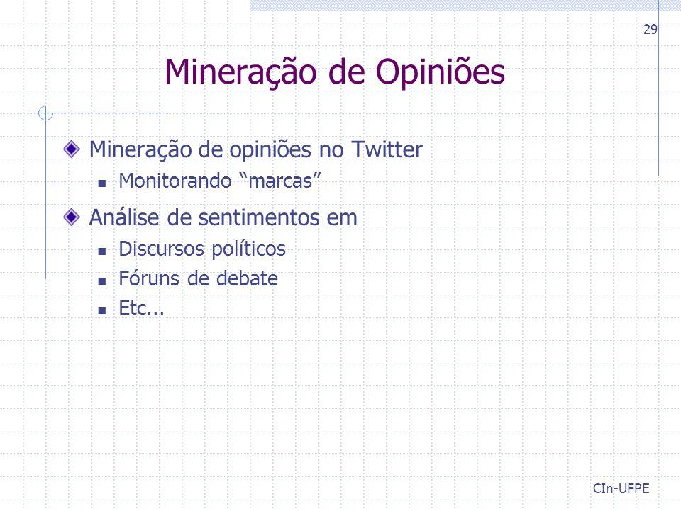 Mineração de Opiniões Mineração de opiniões no Twitter Monitorando marcas Análise de sentimentos em Discursos políticos Fóruns de debate Etc...