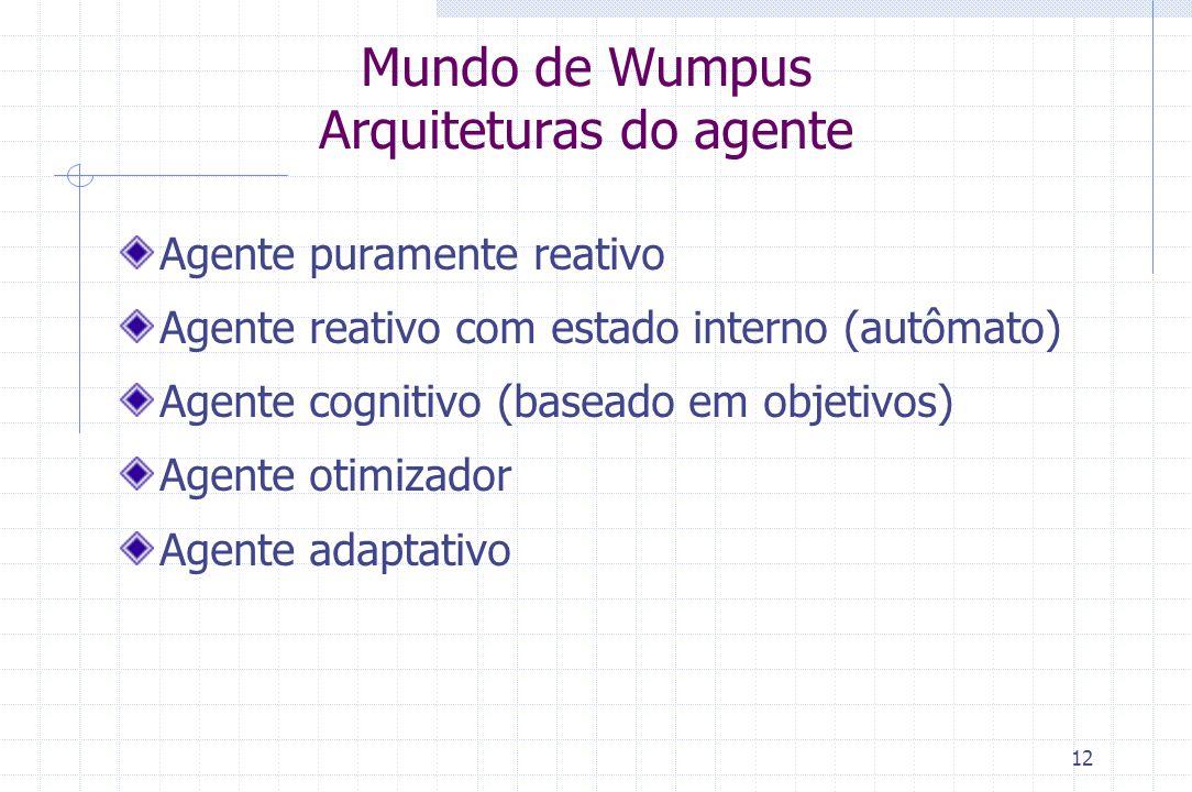 12 Mundo de Wumpus Arquiteturas do agente Agente puramente reativo Agente reativo com estado interno (autômato) Agente cognitivo (baseado em objetivos