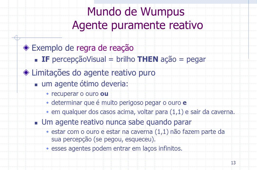 13 Mundo de Wumpus Agente puramente reativo Exemplo de regra de reação IF percepçãoVisual = brilho THEN ação = pegar Limitações do agente reativo puro