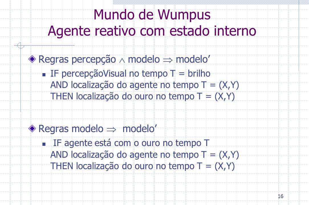 16 Mundo de Wumpus Agente reativo com estado interno Regras percepção  modelo  modelo' IF percepçãoVisual no tempo T = brilho AND localização do age