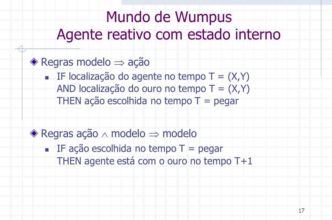 17 Mundo de Wumpus Agente reativo com estado interno Regras modelo  ação IF localização do agente no tempo T = (X,Y) AND localização do ouro no tempo