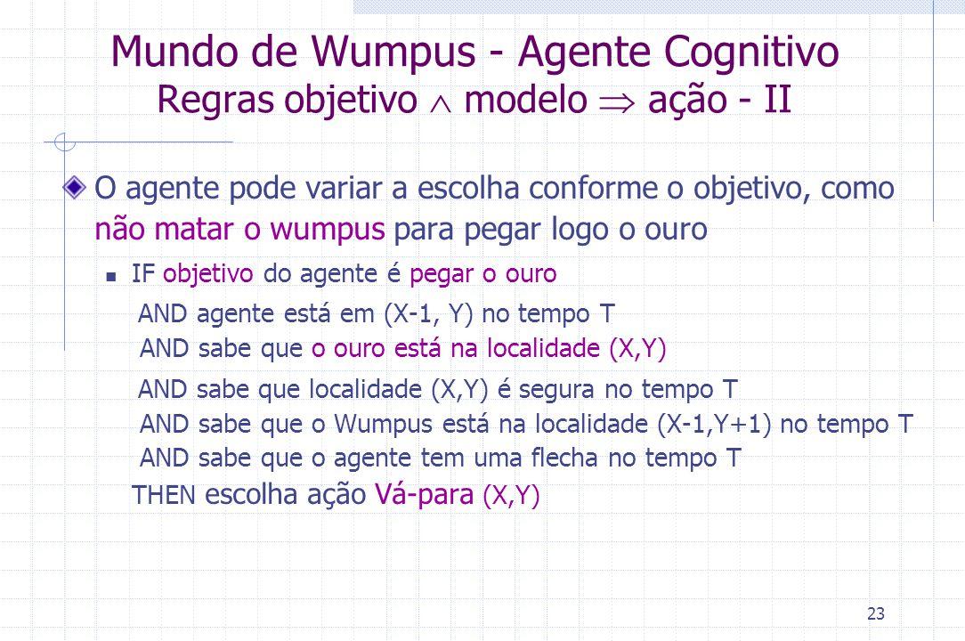 23 Mundo de Wumpus - Agente Cognitivo Regras objetivo  modelo  ação - II O agente pode variar a escolha conforme o objetivo, como não matar o wumpus