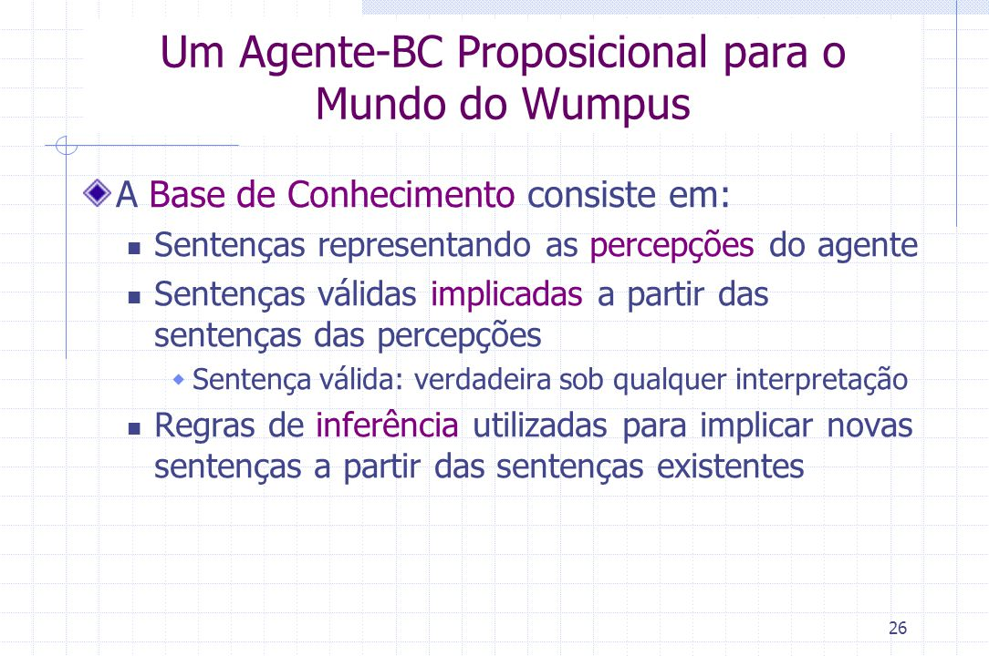 26 Um Agente-BC Proposicional para o Mundo do Wumpus A Base de Conhecimento consiste em: Sentenças representando as percepções do agente Sentenças vál