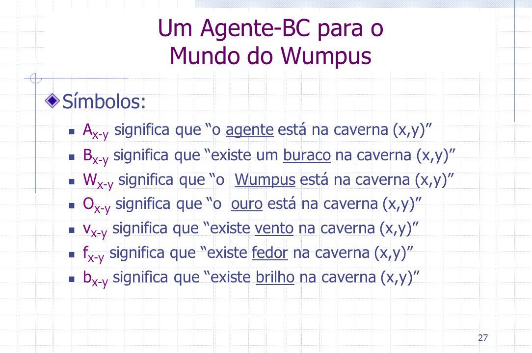 """27 Um Agente-BC para o Mundo do Wumpus Símbolos: A x-y significa que """"o agente está na caverna (x,y)"""" B x-y significa que """"existe um buraco na caverna"""