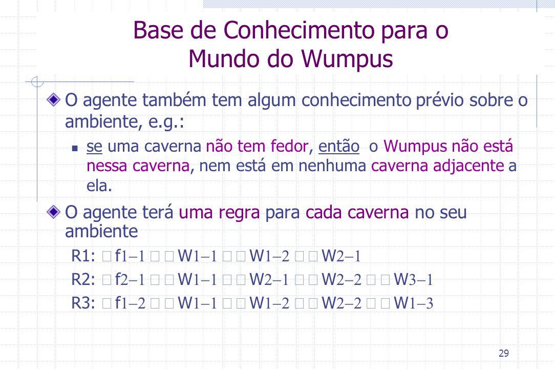 29 Base de Conhecimento para o Mundo do Wumpus O agente também tem algum conhecimento prévio sobre o ambiente, e.g.: se uma caverna não tem fedor, ent