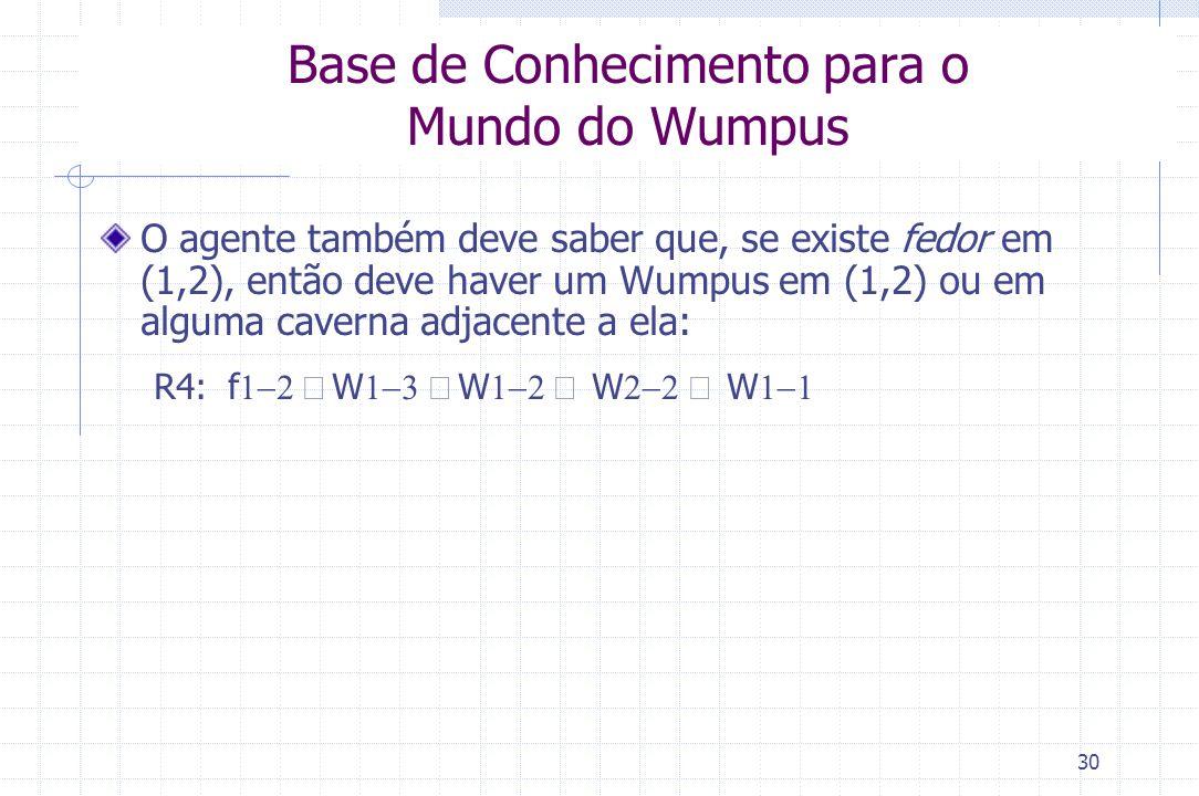 30 Base de Conhecimento para o Mundo do Wumpus O agente também deve saber que, se existe fedor em (1,2), então deve haver um Wumpus em (1,2) ou em alg