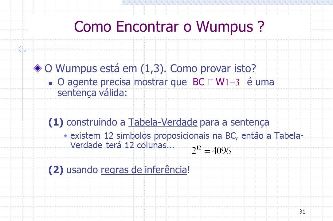 31 Como Encontrar o Wumpus ? O Wumpus está em (1,3). Como provar isto? O agente precisa mostrar que BC  W  é uma sentença válida: (1) construi