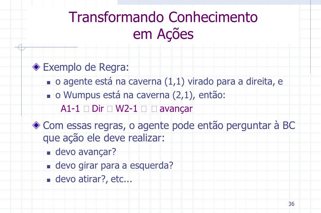 36 Transformando Conhecimento em Ações Exemplo de Regra: o agente está na caverna (1,1) virado para a direita, e o Wumpus está na caverna (2,1), então