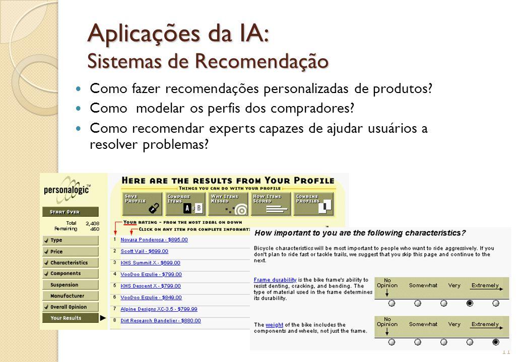 Aplicações da IA: Sistemas de Recomendação Como fazer recomendações personalizadas de produtos? Como modelar os perfis dos compradores? Como recomenda