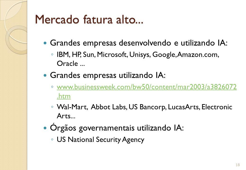 Mercado fatura alto... Grandes empresas desenvolvendo e utilizando IA: ◦ IBM, HP, Sun, Microsoft, Unisys, Google, Amazon.com, Oracle... Grandes empres