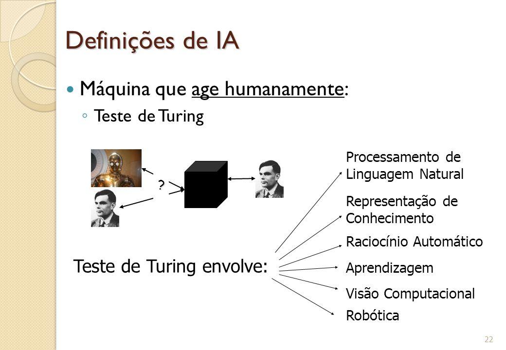 Definições de IA Máquina que age humanamente: ◦ Teste de Turing 22 ? Teste de Turing envolve: Processamento de Linguagem Natural Representação de Conh