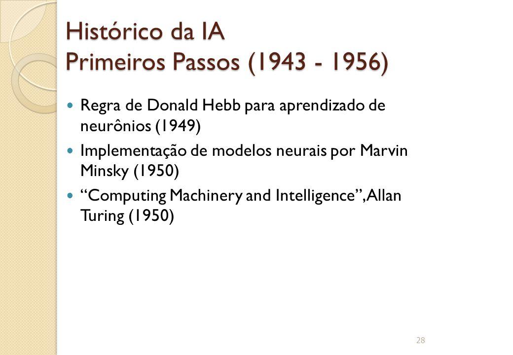 Histórico da IA Primeiros Passos (1943 - 1956) Regra de Donald Hebb para aprendizado de neurônios (1949) Implementação de modelos neurais por Marvin M