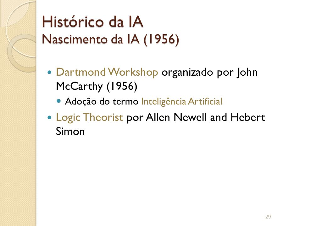 Histórico da IA Nascimento da IA (1956) Dartmond Workshop organizado por John McCarthy (1956) Adoção do termo Inteligência Artificial Logic Theorist por Allen Newell and Hebert Simon 29