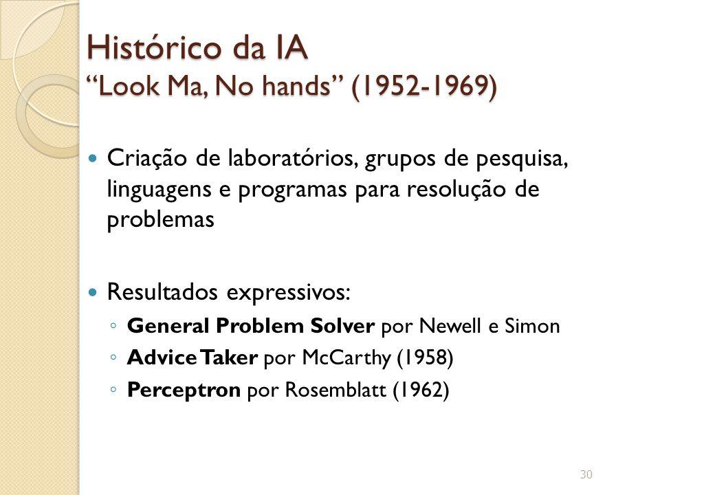 """Histórico da IA """"Look Ma, No hands"""" (1952-1969) Criação de laboratórios, grupos de pesquisa, linguagens e programas para resolução de problemas Result"""