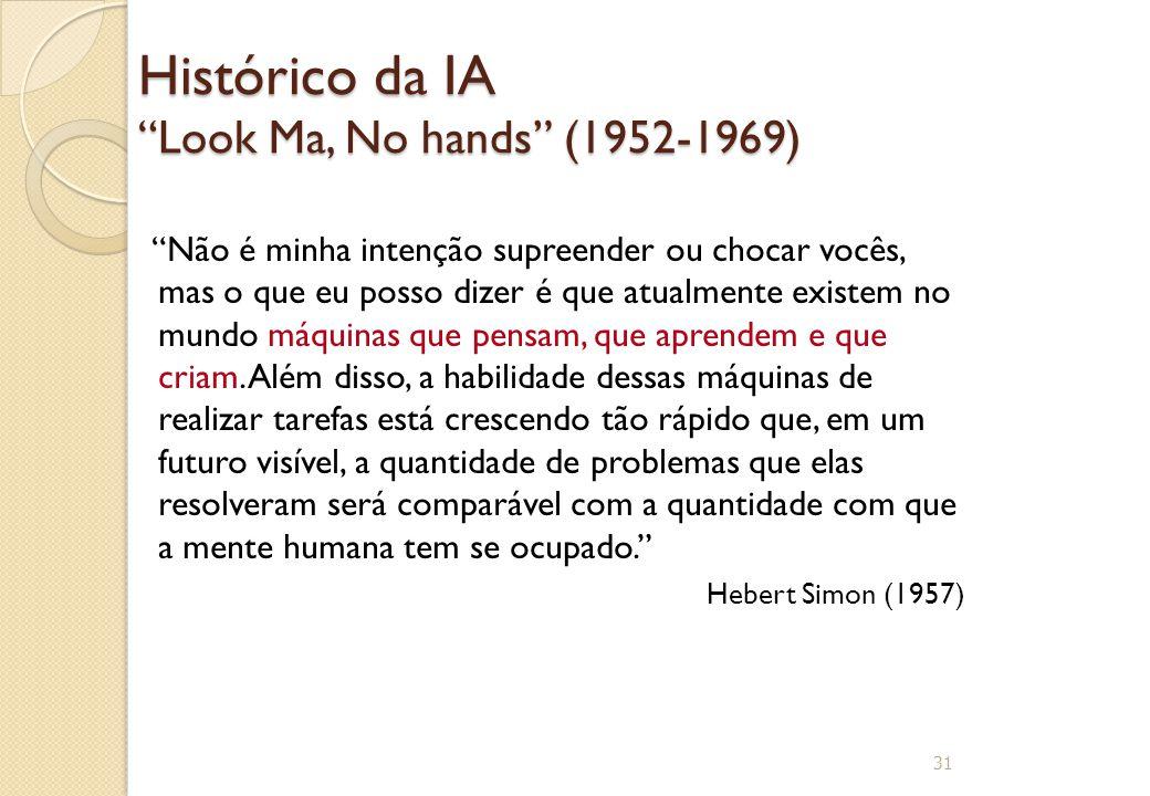 """Histórico da IA """"Look Ma, No hands"""" (1952-1969) """"Não é minha intenção supreender ou chocar vocês, mas o que eu posso dizer é que atualmente existem no"""