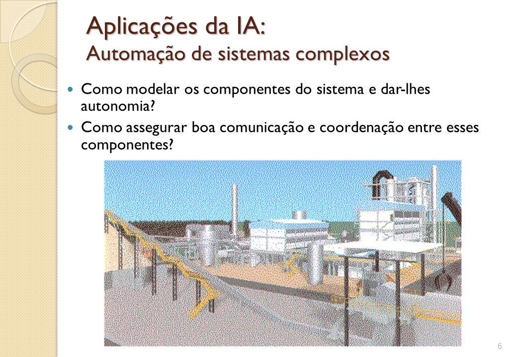 Aplicações da IA: Automação de sistemas complexos Como modelar os componentes do sistema e dar-lhes autonomia? Como assegurar boa comunicação e coorde