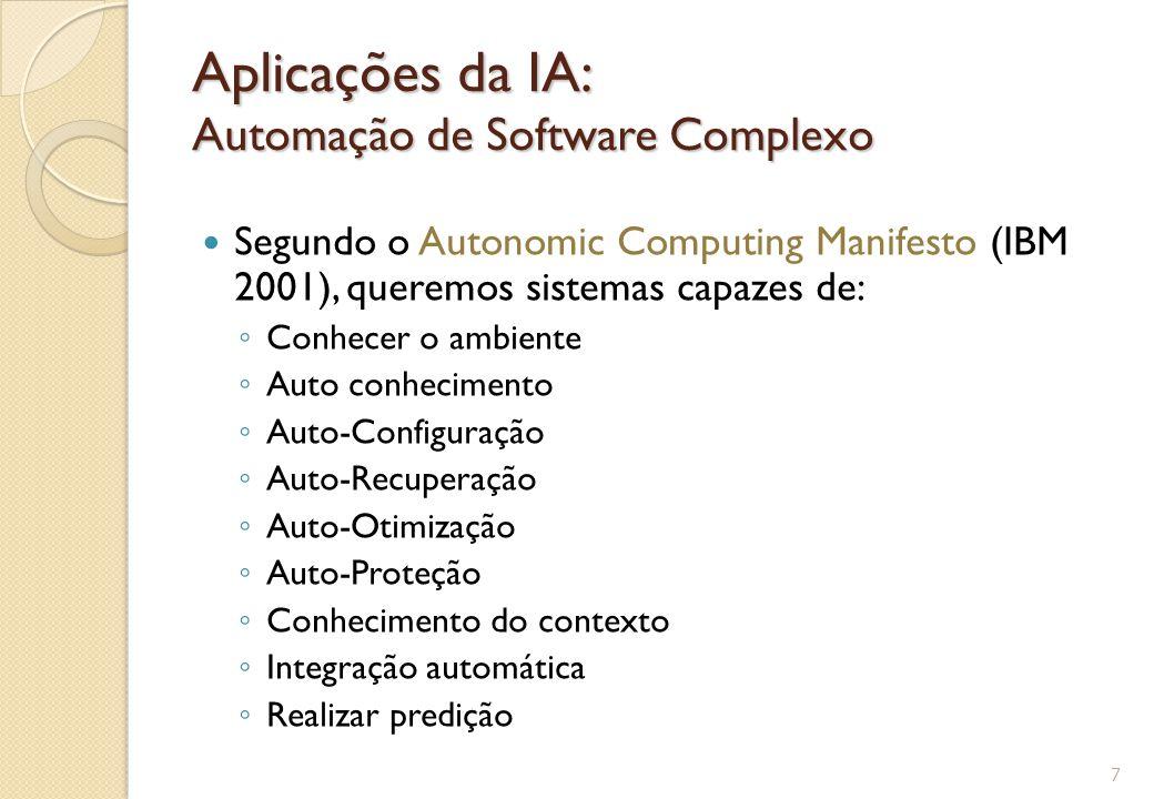 Aplicações da IA: Automação de Software Complexo Segundo o Autonomic Computing Manifesto (IBM 2001), queremos sistemas capazes de: ◦ Conhecer o ambien