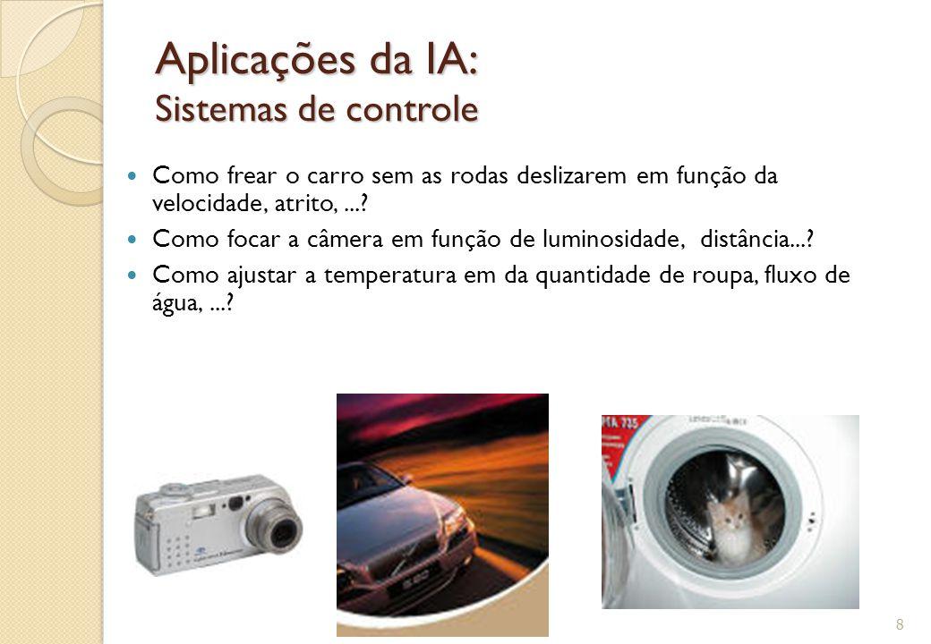Aplicações da IA: Sistemas de controle Como frear o carro sem as rodas deslizarem em função da velocidade, atrito,...? Como focar a câmera em função d