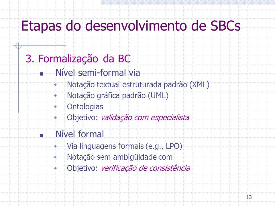 13 3. Formalização da BC Nível semi-formal via  Notação textual estruturada padrão (XML)  Notação gráfica padrão (UML)  Ontologias  Objetivo: vali