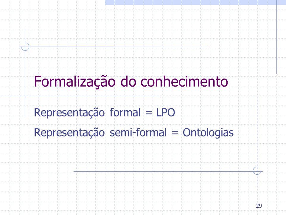 29 Formalização do conhecimento Representação formal = LPO Representação semi-formal = Ontologias