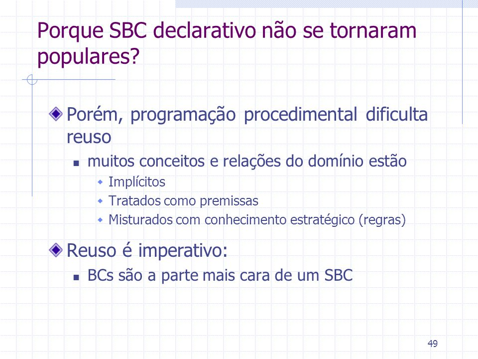 49 Porque SBC declarativo não se tornaram populares? Porém, programação procedimental dificulta reuso muitos conceitos e relações do domínio estão  I