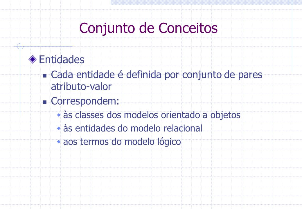 Conjunto de Conceitos Entidades Cada entidade é definida por conjunto de pares atributo-valor Correspondem:  às classes dos modelos orientado a objetos  às entidades do modelo relacional  aos termos do modelo lógico