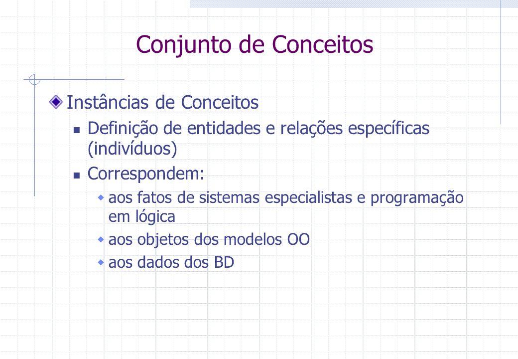Conjunto de Conceitos Instâncias de Conceitos Definição de entidades e relações específicas (indivíduos) Correspondem:  aos fatos de sistemas especialistas e programação em lógica  aos objetos dos modelos OO  aos dados dos BD