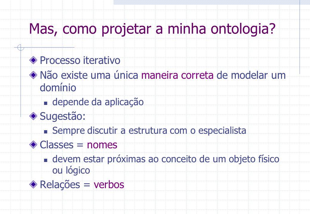 Mas, como projetar a minha ontologia.