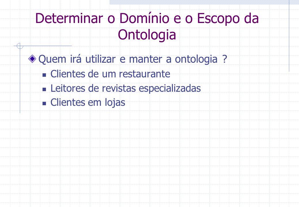Determinar o Domínio e o Escopo da Ontologia Quem irá utilizar e manter a ontologia .