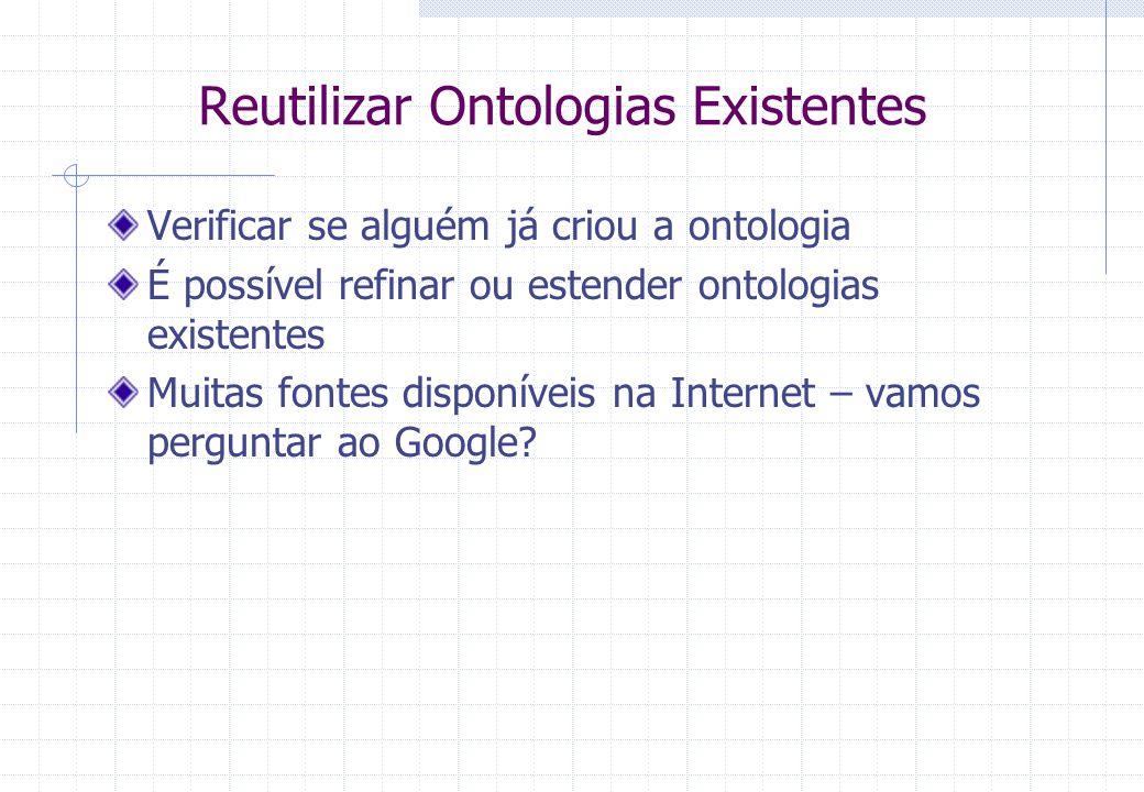 Reutilizar Ontologias Existentes Verificar se alguém já criou a ontologia É possível refinar ou estender ontologias existentes Muitas fontes disponíveis na Internet – vamos perguntar ao Google