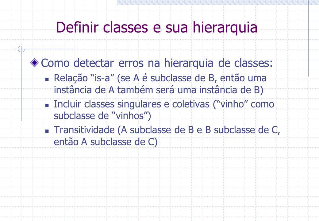 Definir classes e sua hierarquia Como detectar erros na hierarquia de classes: Relação is-a (se A é subclasse de B, então uma instância de A também será uma instância de B) Incluir classes singulares e coletivas ( vinho como subclasse de vinhos ) Transitividade (A subclasse de B e B subclasse de C, então A subclasse de C)