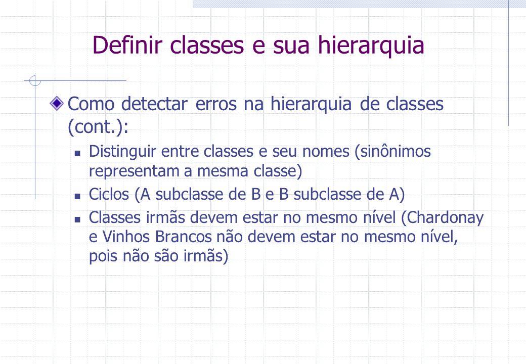 Definir classes e sua hierarquia Como detectar erros na hierarquia de classes (cont.): Distinguir entre classes e seu nomes (sinônimos representam a mesma classe) Ciclos (A subclasse de B e B subclasse de A) Classes irmãs devem estar no mesmo nível (Chardonay e Vinhos Brancos não devem estar no mesmo nível, pois não são irmãs)