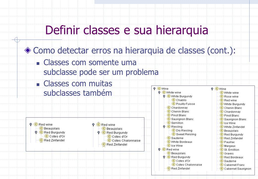 Definir classes e sua hierarquia Como detectar erros na hierarquia de classes (cont.): Classes com somente uma subclasse pode ser um problema Classes com muitas subclasses também