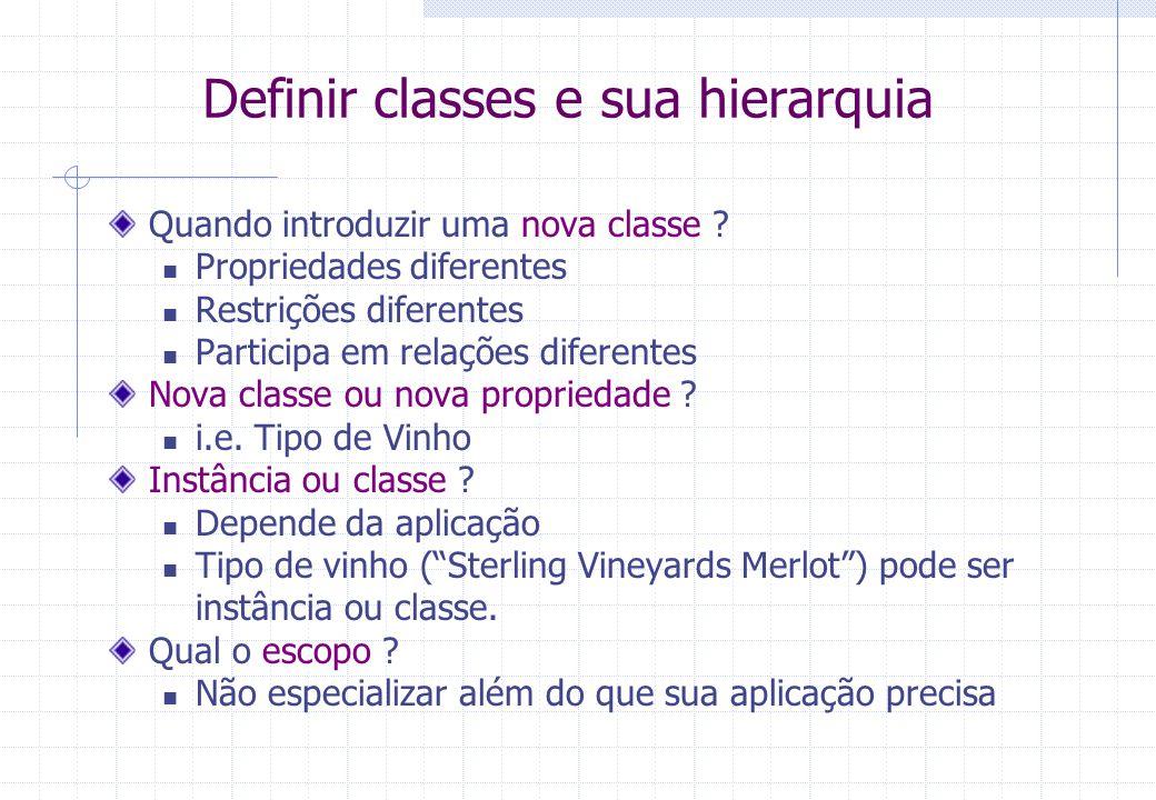 Definir classes e sua hierarquia Quando introduzir uma nova classe .