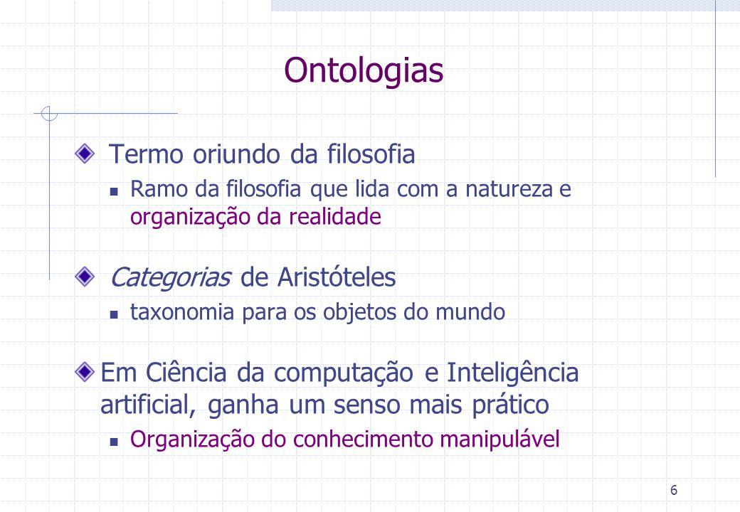 Conjunto de Conceitos Relações Podem ser hierárquicas ou não correspondem:  às associações, agregações e atributos dos modelos OO cujos valores são objetos  às relações do modelo relacional  aos predicados do modelo lógico