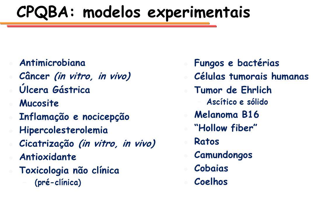 CPQBA: modelos experimentais l l Antimicrobiana l l Câncer (in vitro, in vivo) l l Úlcera Gástrica l l Mucosite l l Inflamação e nocicepção l l Hiperc