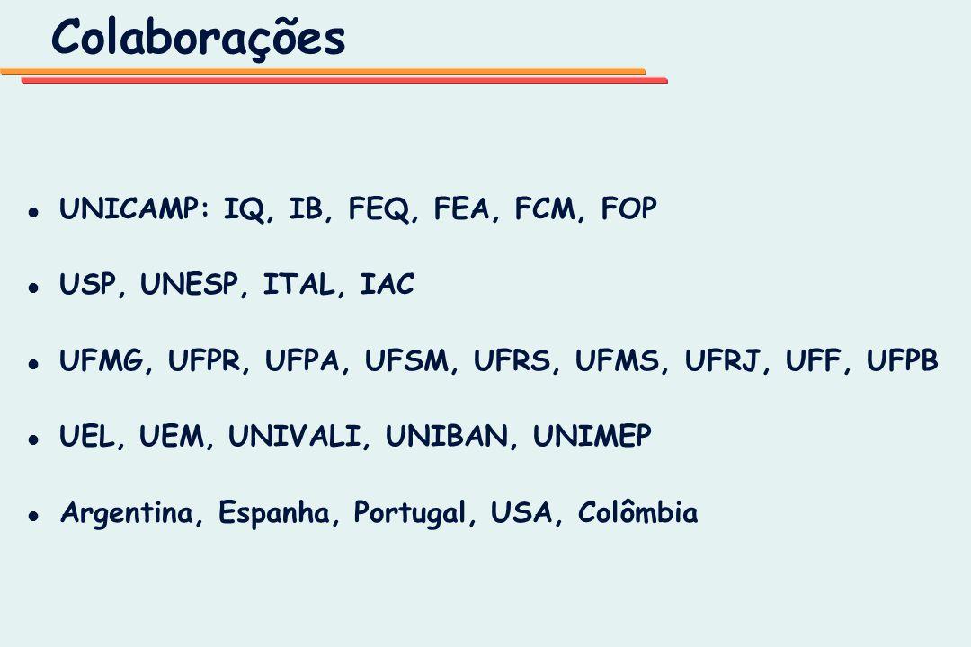 Colaborações l l UNICAMP: IQ, IB, FEQ, FEA, FCM, FOP l l USP, UNESP, ITAL, IAC l l UFMG, UFPR, UFPA, UFSM, UFRS, UFMS, UFRJ, UFF, UFPB l l UEL, UEM, U