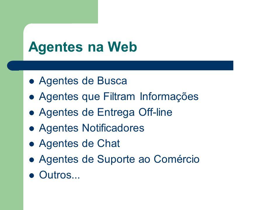 Agentes na Web Agentes de Busca Agentes que Filtram Informações Agentes de Entrega Off-line Agentes Notificadores Agentes de Chat Agentes de Suporte a