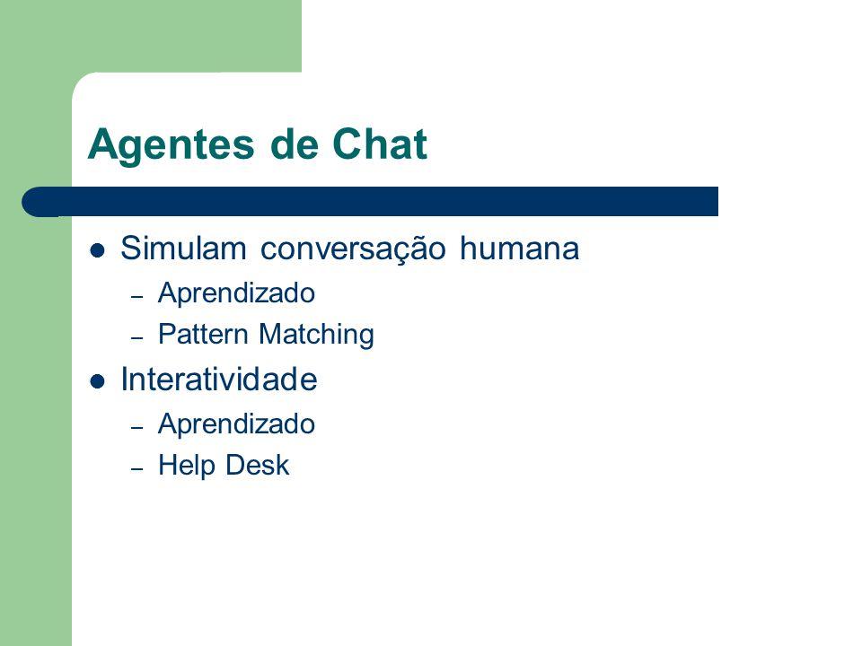Agentes de Chat Simulam conversação humana – Aprendizado – Pattern Matching Interatividade – Aprendizado – Help Desk