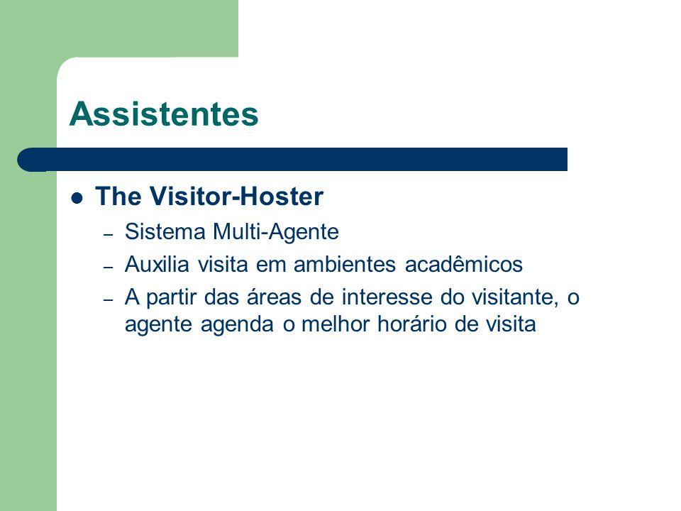 Assistentes The Visitor-Hoster – Sistema Multi-Agente – Auxilia visita em ambientes acadêmicos – A partir das áreas de interesse do visitante, o agent
