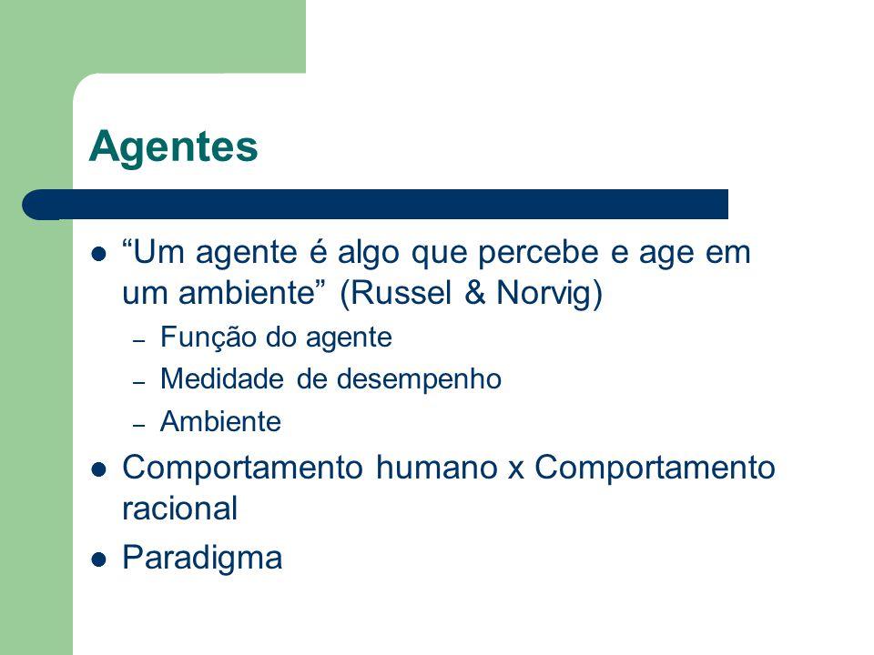 """Agentes """"Um agente é algo que percebe e age em um ambiente"""" (Russel & Norvig) – Função do agente – Medidade de desempenho – Ambiente Comportamento hum"""