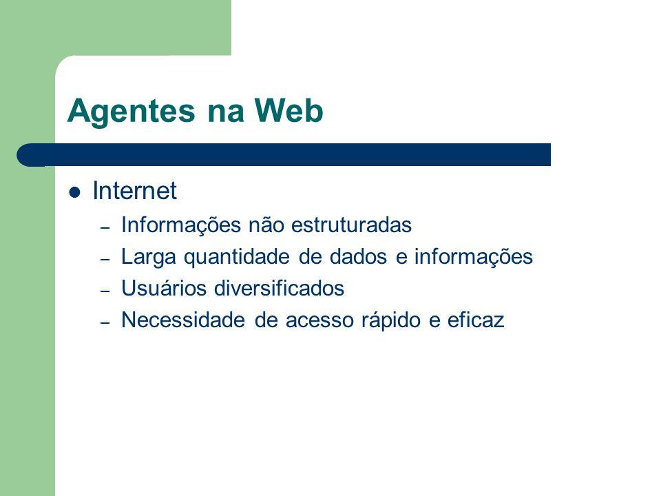Agentes na Web Objetivos: – Obter quantidade rezoável de informações – Obter informações relevantes Necessidade Perfil Sensores – Páginas em HTML, E-mails, Conexões Atuadores – Redirecionamento, envio de e-mails